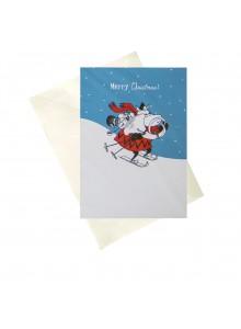 """Поздравителна картичка  """"Мумин Коледа"""" - синя"""