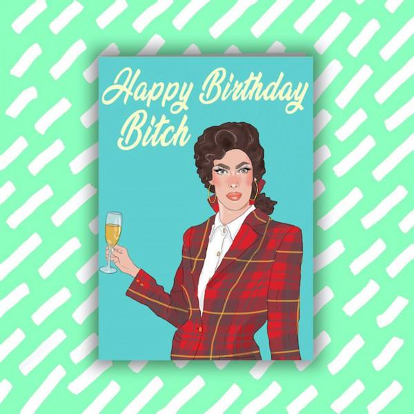 """Поздравителна картичка """"Честит рожден ден, кучко!"""" 1"""