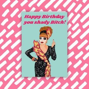 """Поздравителна картичка """"Честит рожден ден, захабена кучко!"""""""