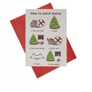 """Поздравителна картичка """"Как да хванеш Дядо Коледа"""" - Пушийн"""