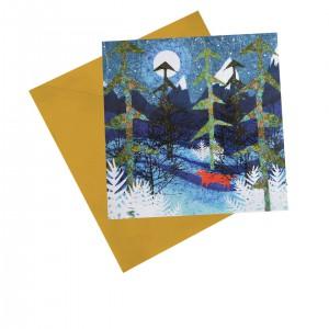 """Поздравителна картичка """"Лисица в гората"""""""