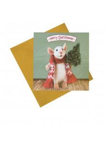 """Поздравителна картичка """"Мишка с коледно дърво"""""""
