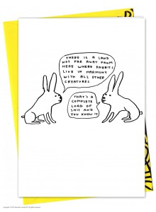 Поздравителна Картичка Зайци Живеят в Хармония David Shrigley