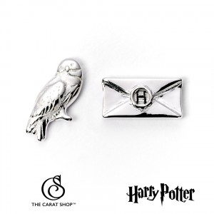 WES1746 Harry Potter Hedwig and Letter Silver Plated Stud Earrings обеци