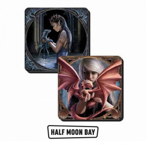 CST2AS01 Set of 2 Coasters - Anne Stokes Dragons