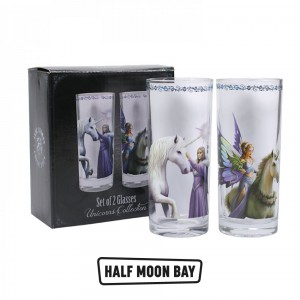 GL02AS04 Set of 2 Boxed Glasses - Anne Stokes Unicorns