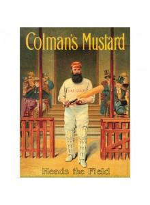 Голяма Винтидж Метална табела А3 Colmans Mustard Cricketer