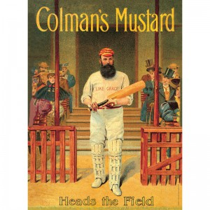 SSA3OP19 Tin Sign Large - Colmans Mustard Cricketer Heads The Field
