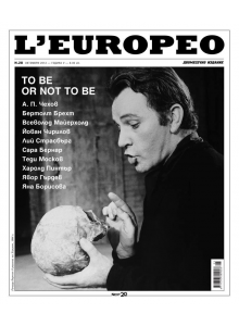 Списание L'Europeo N.28  TO BE OR NOT TO BE | October  2010