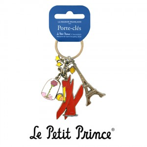 PCCBR201 Keychain Le Petit Prince - Plane and Rose
