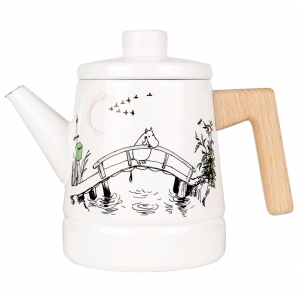 Metal Enamel Coffee Pot Moomintroll with Wooden Handle