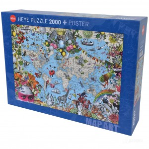 29913 Puzzle Heye 2000p - Map Art The Quirky World