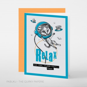 Greeting Card Relax and Feel Purrr-fectly Free