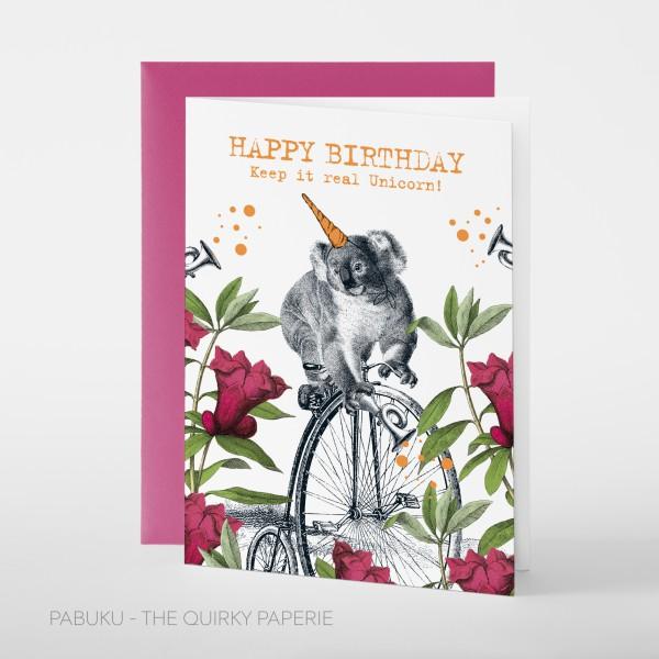 """Pabuku Cards - Поздравителна картичка """"Честит рожден ден и вярвай в еднорози"""" 1"""