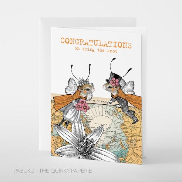 """Pabuku Cards - Поздравителна картичка """"Честито за сватбата"""" 1"""