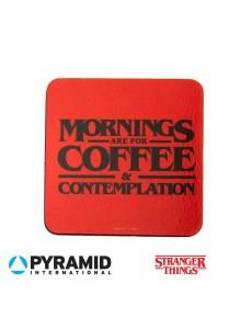 """Подложки за чаша Stranger Things  """"Сутрините са за кафе и съзерцание"""""""