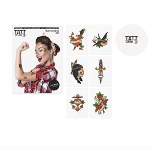 Temporary Tattoos Set Old School 6 Pieces