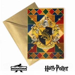 Hufflepuff Crest Foiled Notecard Harry Potter