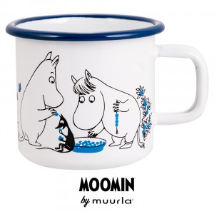 1706-037-05 Enamel Mug 3.7dl - Moomin Blueberries