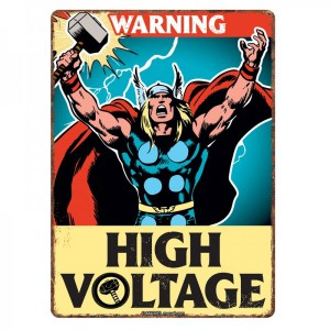 Small Tin Sign Thor High Voltage