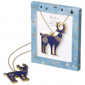 FOL070 Enamel Necklace Deer Folklore
