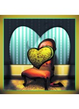 Поздравителна картичка Heart on a Chair