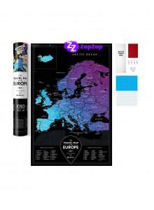 Скреч Карта на Европа в Черно