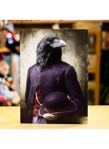 Поздравителна Картичка Adrian Higgins Suited Raven