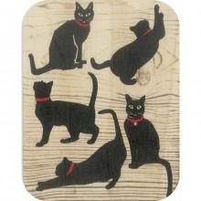 Дървена Поздравителна Картичка Черни Котки