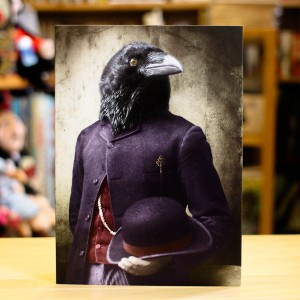 Greeting Card Adrian Higgins Suited Raven