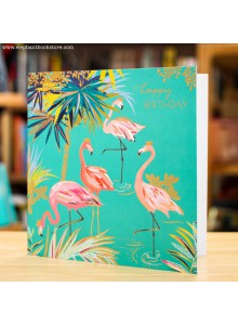Поздравителна Картичка Фламинго и Палми