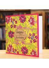 Поздравителна Картичка Floral Pink