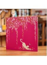 Поздравителна Картичка Котка и Цветя