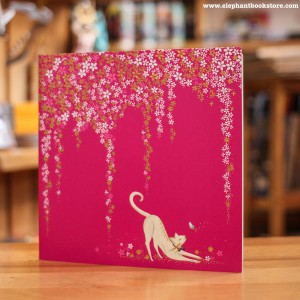 Greeting Card Cat and Blossom