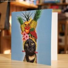 Поздравителна Картичка Pets Rock Cat Fruit Hat