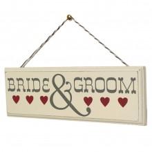 Дървена Табела Bride and Groom