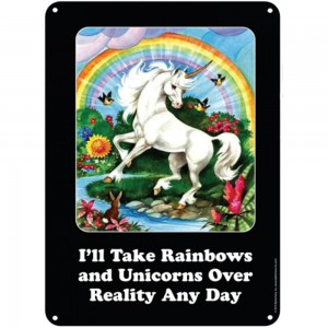 Metal sign Unicorn Rainbows