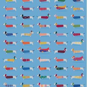 Опаковъчна хартия Дакели Sausage Dogs Blue