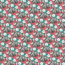 Опаковъчна Хартия Флорален Мотив със Зайци