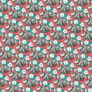 Wrapping Paper Floral Bunny Pattern