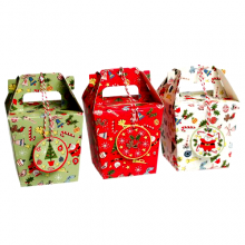Set Of 3 Panettone Christmas Carnival Gift Boxes With Tags