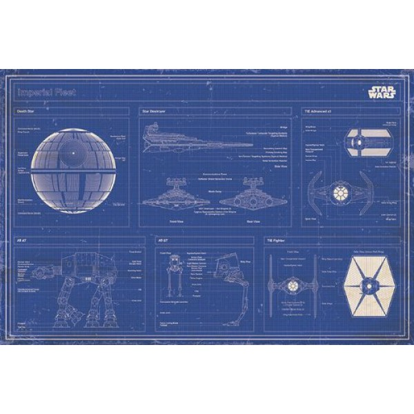 Плакат Star Wars Imperial Fleet Blueprint 1
