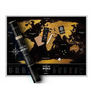 Plastic World Travel | Scratch map | Black and Gold