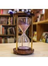 Пясъчен Часовник от Дърво и Месинг 11 cм х 6 см.