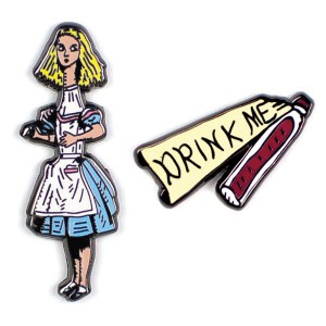 Enamel Pin Badges Alice and Drink me