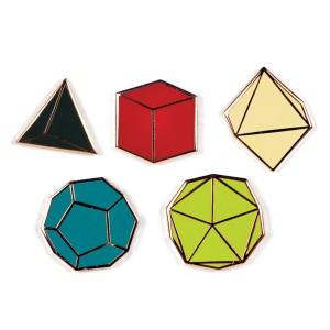 Enamel Pin Badges Platonic Solids